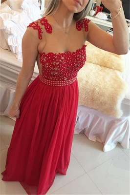 Glamorous Chiffon Long Prom Dress With Pearls And Lace BT0_1