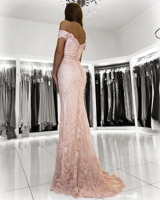 Charming Pink Lace Prom Dresses | 2020 Mermaid Evening Gowns On Sale BC0426_2