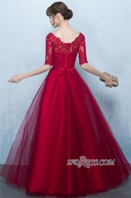 Floor-Length Half-Sleeves A-Line Lace Lace-Up Glamorous Evening Dresses_4