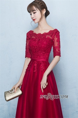 Floor-Length Half-Sleeves A-Line Lace Lace-Up Glamorous Evening Dresses_3