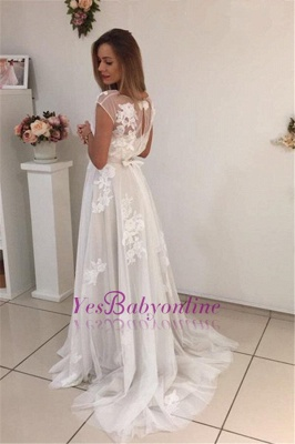 Sweep-Train Short-Sleeves A-Line Newest Appliques Tulle Prom Dress qq0283_3