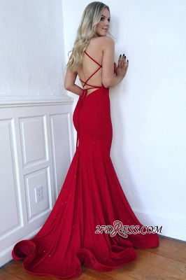 Spaghetti-Straps Gorgeous Mermaid Lace-Up Red Prom Dresses_2