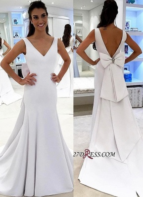 White wedding dress with bowknot, 2020 bridal gowns_1