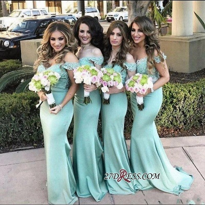 Long Mermaid Mint Lace Off-the-Shoulder Bridesmaid Dress_2