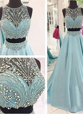 Two-Piece Crystals Elegant Long Beaded Blue Prom Dresses_2