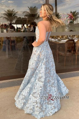 Backless Applique slit A-line Strapless front Floor-length Prom Dress_2