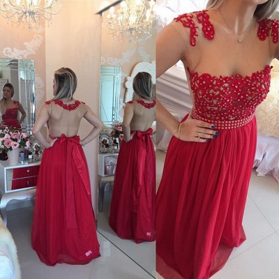 Glamorous Chiffon Long Prom Dress With Pearls And Lace BT0_6