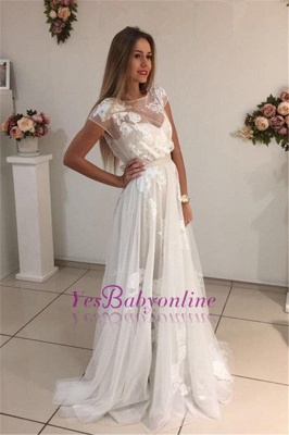 Sweep-Train Short-Sleeves A-Line Newest Appliques Tulle Prom Dress qq0283_1