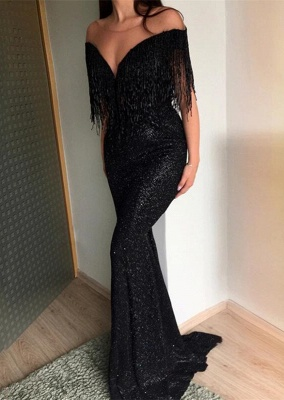 Sexy Crew Sequins Mermaid 2020 Evening Gowns | Tassel Long Black Prom Dress On Sale_2