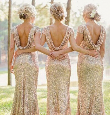 Glamorous Bateau Cap Sleeve Bridesmaid Dress With Sequins_2