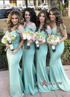 Long Mermaid Mint Lace Off-the-Shoulder Bridesmaid Dress_3