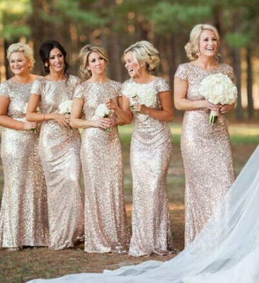 Glamorous Bateau Cap Sleeve Bridesmaid Dress With Sequins_1