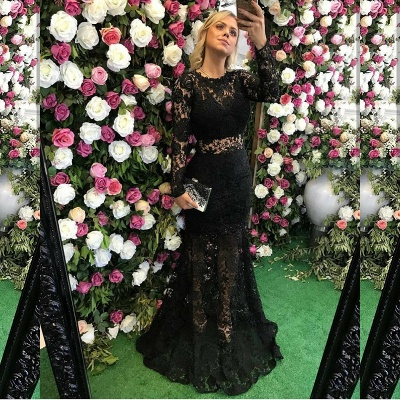 Sexy Black Long Sleeve Lace Prom Dress 2020 Sheer Party Gowns On Sale_3