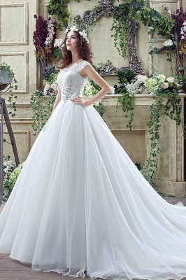 Elegant Illusion Lace Beadings 2020 Wedding Dress Cap Sleeve Zipper_3