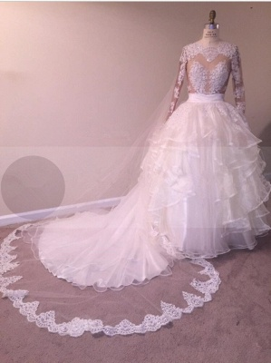Newest Ruffled Lace Appliques White Wedding Dress   Long Sleeve Bridal Gown_5