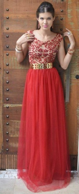 Evening Sexy Red Prom Dresses New Fashion 2020 Dresses Cap Sleeves Vestidos Female Formal Tulle Bead Dresses_3