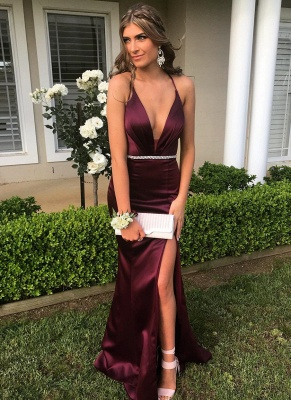 Sexy Halter V-Neck Sleeveless Prom Gown | Mermaid Evening Dress With Split On Sale_1