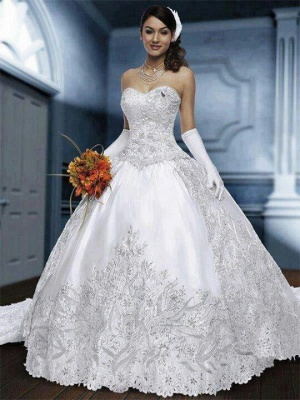Sweetheart Beautiful Bridal Gowns Wedding Dresses Very on Sale Appliques Lace Princess Free Shipping_1
