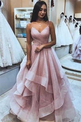 Elegant Ruffle Tulle A-Line Prom Dress   Pink Spaghetti-Straps Sleeveless Prom Gown_2