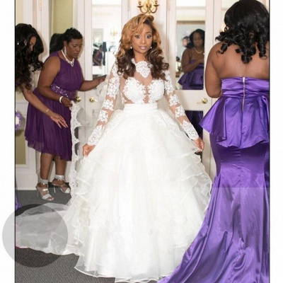 Newest Ruffled Lace Appliques White Wedding Dress   Long Sleeve Bridal Gown_3