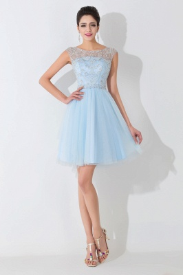 Glamorous Illusion Sleeveless Short Cocktail Dress With Crystals_1