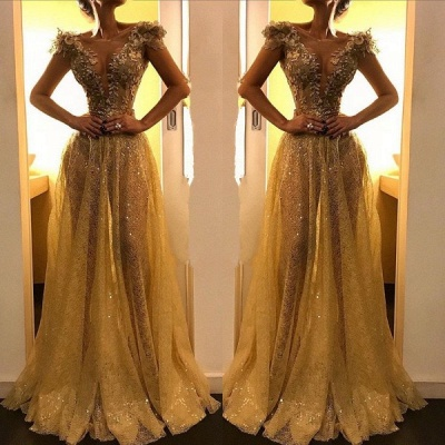 2020 Elegant Cap Sleeves A-Line Evening Gown | Sexy Gold Sequins Appliques Floor-Length Prom Dress BC0913_2