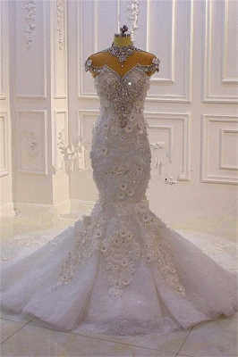 Delicate Beading Appliques Mermaid Bridal Gowns Sheer Tulle Sparking Wedding Dresses_5