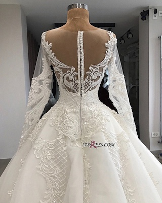 Appliques Charming Long-Sleeves Sweetheart Lace Jewel Wedding Dresses_1