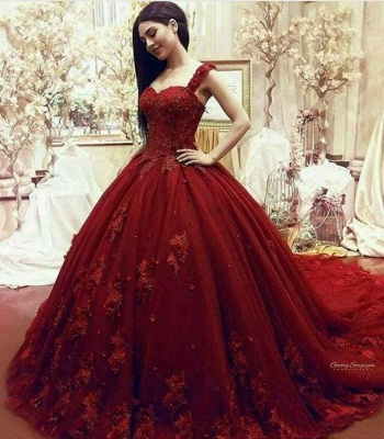 Gorgeous Sweetheart Red Prom Dresses| Long Lace Appliques Ball Gown Evening Gowns_2