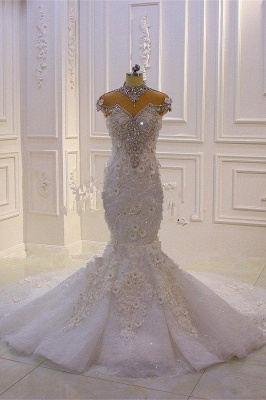 Delicate Beading Appliques Mermaid Bridal Gowns Sheer Tulle Sparking Wedding Dresses_1