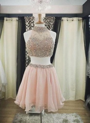 Luxury Pink Halter-Neck Two-Piece Blush Crystals Short Homecoming Dresses_3