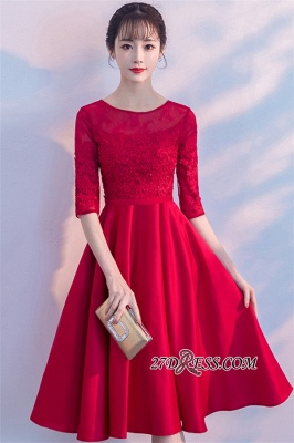 Lace Half-Sleeves Red Zipper A-Line Homecoming Dress_4