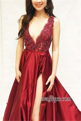 Sexy Sleeveless Side Slit Straps Prom Dresses | Cheap A-Line Appliques Sequins Evening Dresses_2