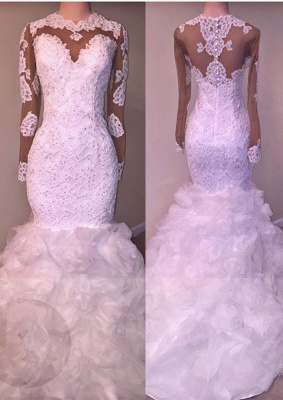 Delicate Long Sleeve Lace Appliques Wedding Dress | 2020 Mermaid Bridal Gown_1