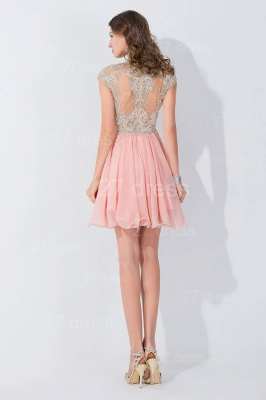Modern High Neck Cap Sleeve Chiffon Homecoming Dress With Appliques Beadings_4