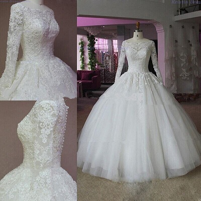 Elegant Lace Appliques Ball Gown Wedding Dress 2020 Long Sleeve_3