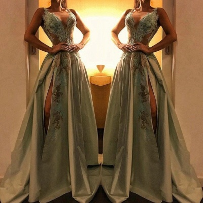 Charming A-Line V Neck Sleeveless Prom Dress | 2020 Lace Appliques Evening Gown With Split_2