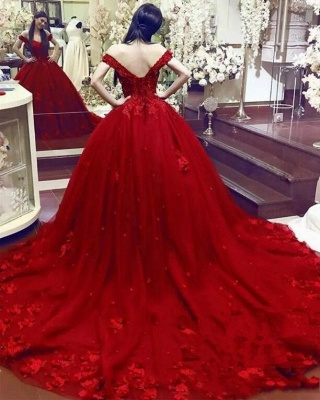Gorgeous Sweetheart Red Prom Dresses| Long Lace Appliques Ball Gown Evening Gowns_4