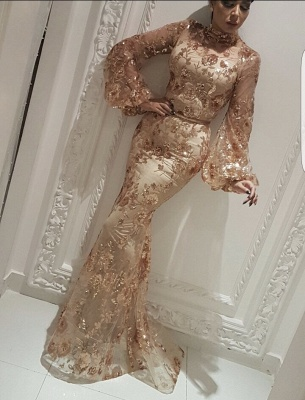 Modest High Neck Long Sleeves Evening Gowns | 2020 Mermaid Sequins Appliques Prom Dress On Sale BC2334_1