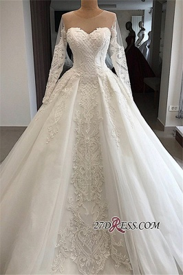 Appliques Charming Long-Sleeves Sweetheart Lace Jewel Wedding Dresses_5