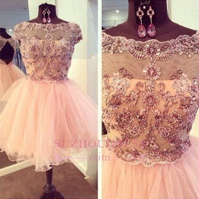 Bateau-Neck Beaded Luxury Puffy Capped-Sleeves Homecoming Dresses_1