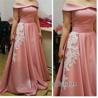 Off-the-Shoulder Glamorous Appliques A-Line Pink Prom Dress_1