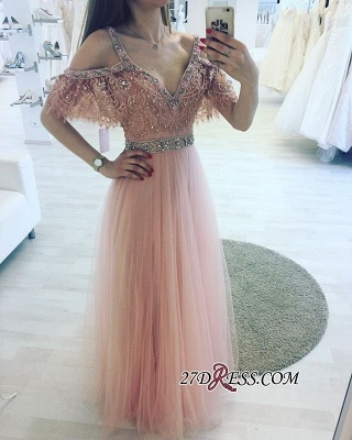Lace Floor-length Charming Beading V-neck Pink A-line Evening Dress_2
