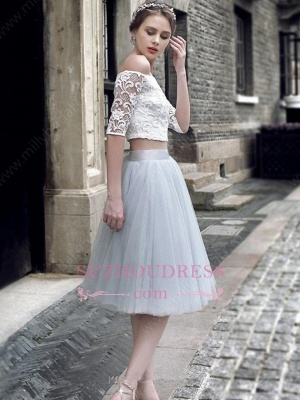 Off-the-Shoulder Sexy Knee-Length Tulle Lace Homecoming Dress_1