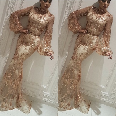 Modest High Neck Long Sleeves Evening Gowns | 2020 Mermaid Sequins Appliques Prom Dress On Sale BC2334_3
