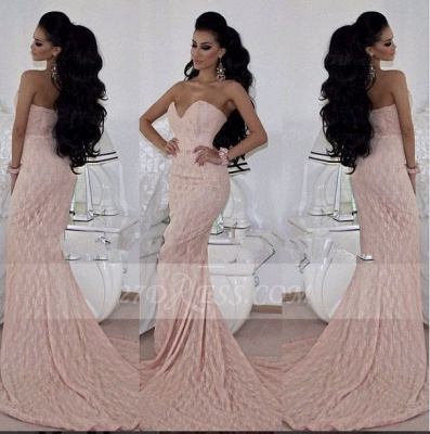Chiffon Mermaid Prom Dresses 2020 Sweetheart Gorgeous Evening Sleeveless Pink Appliques Gowns Sweep Train_3