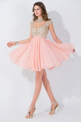 Modern High Neck Cap Sleeve Chiffon Homecoming Dress With Appliques Beadings_1