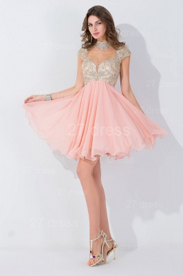 Modern High Neck Cap Sleeve Chiffon Homecoming Dress With Appliques Beadings_2