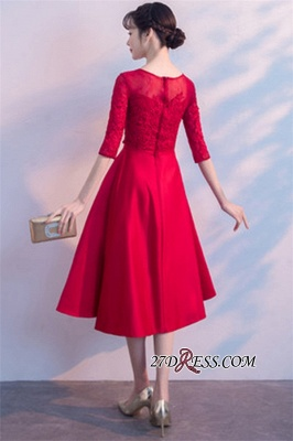 Lace Half-Sleeves Red Zipper A-Line Homecoming Dress_3