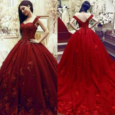 Gorgeous Sweetheart Red Prom Dresses| Long Lace Appliques Ball Gown Evening Gowns_5